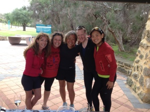 Hugs all around at the finish line at Picnic Cove.        L to R - Claire, Jayne, Moi, Orla and Kirsten